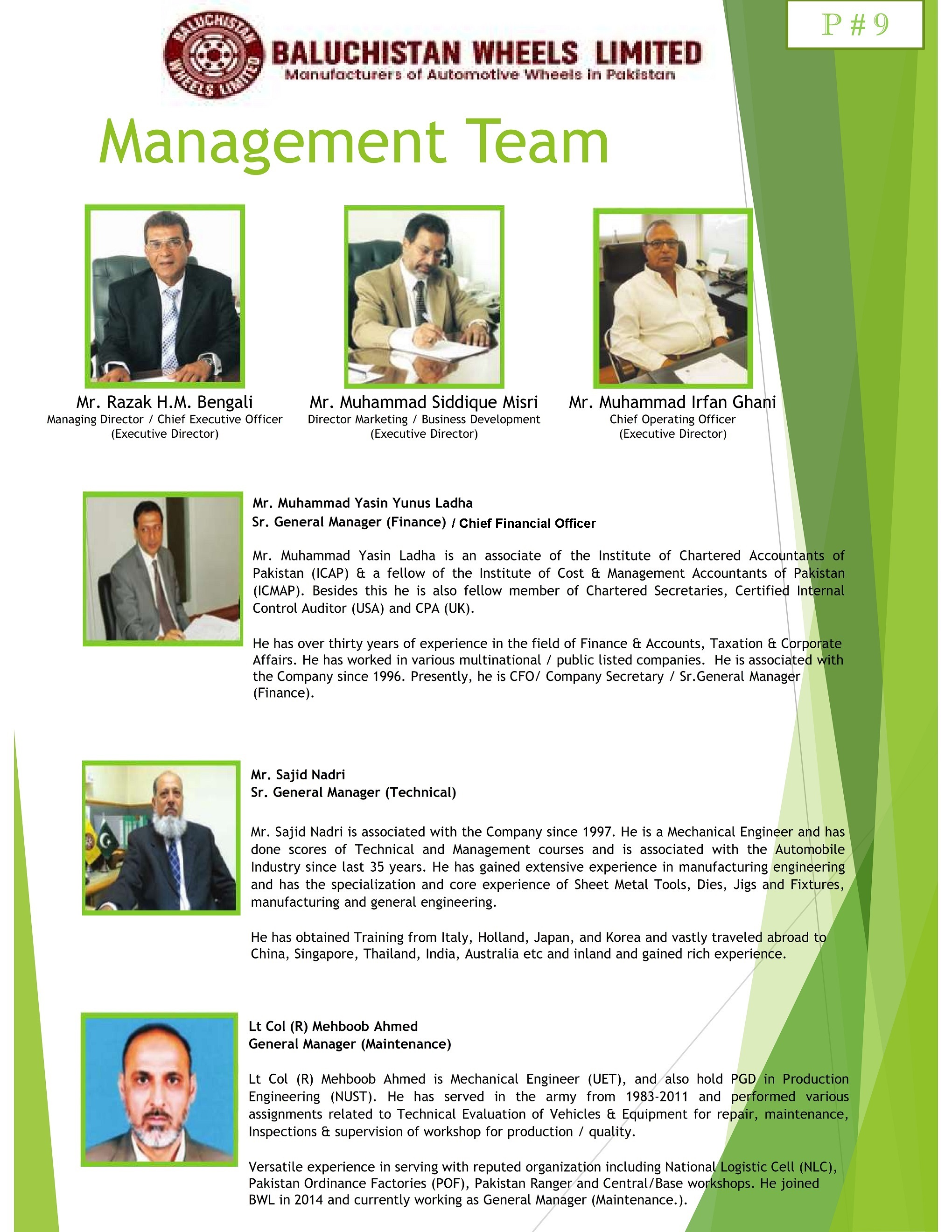 Management Team – Baluchistan Wheels Limited